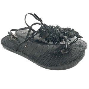BCBG MaxAzria Strappy Ruffle Flat Black Sandals